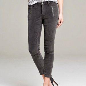 Banana Republic Velour Skinny Ankle Zip Cords Grey